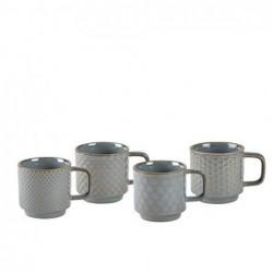 Tasse expresso 4 pièces gris